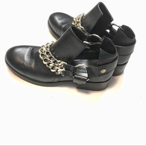 Zara Black Leather Ankle Boots with Gold Chain